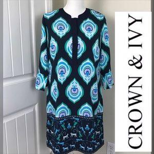 Crown & Ivy  Monkey Print Dress Sz 8